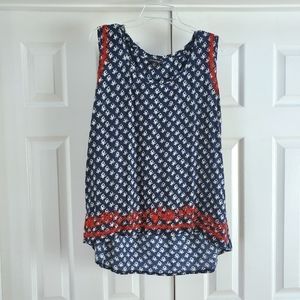 Lucky brand navy blue, red flower embroidered tank